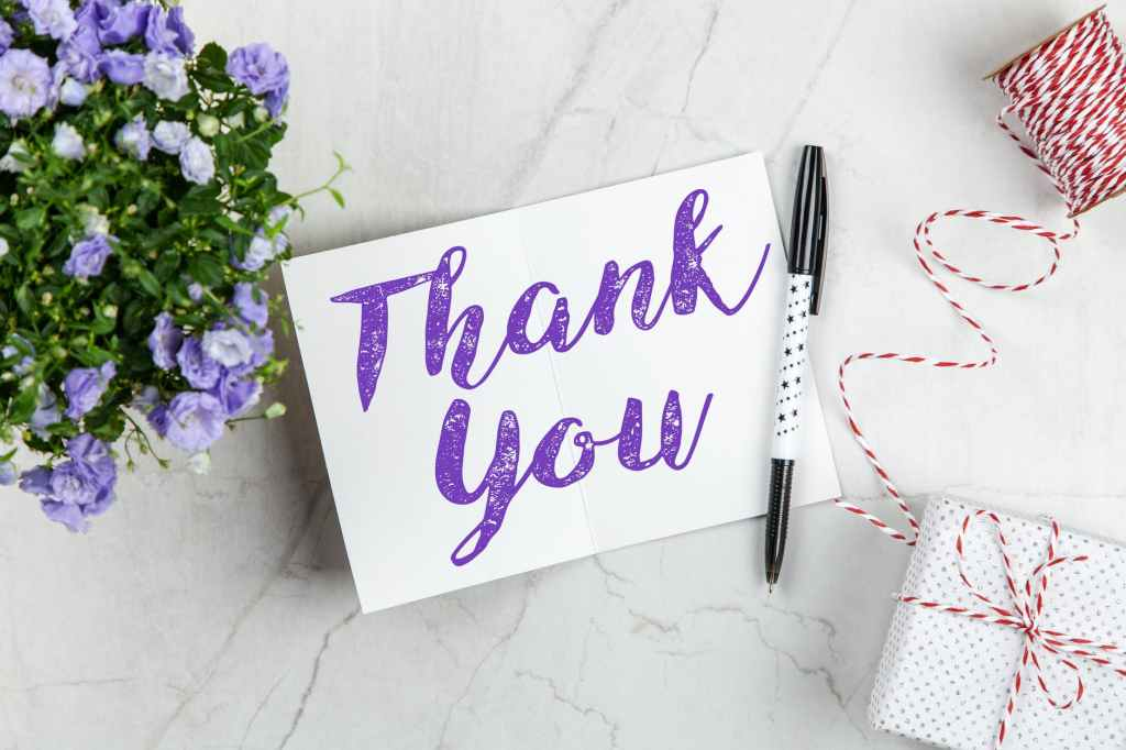 A word if gratitude, thank you